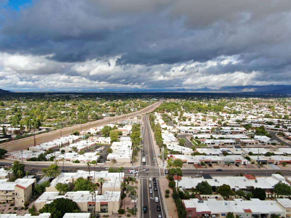 Aerial view of Scottsdale desert city