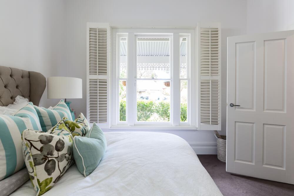 Bedroom window with a garden view