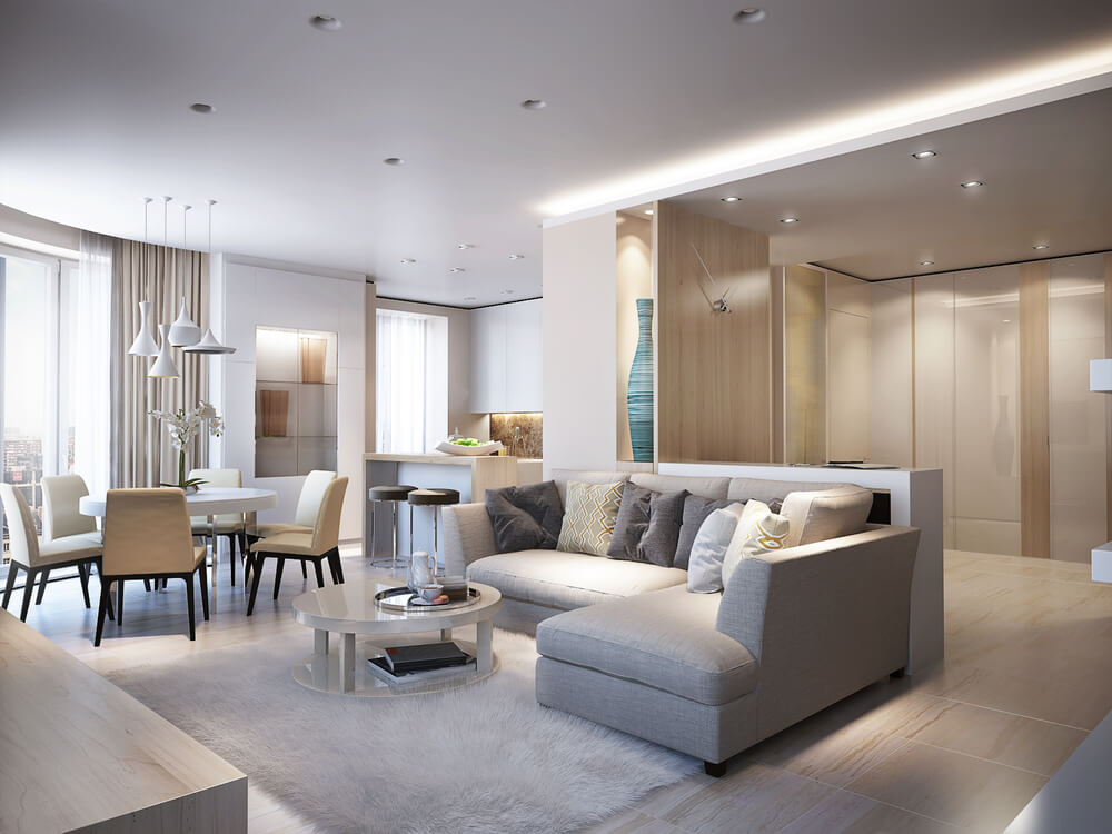 Elegant and luxurious light open living and dining room