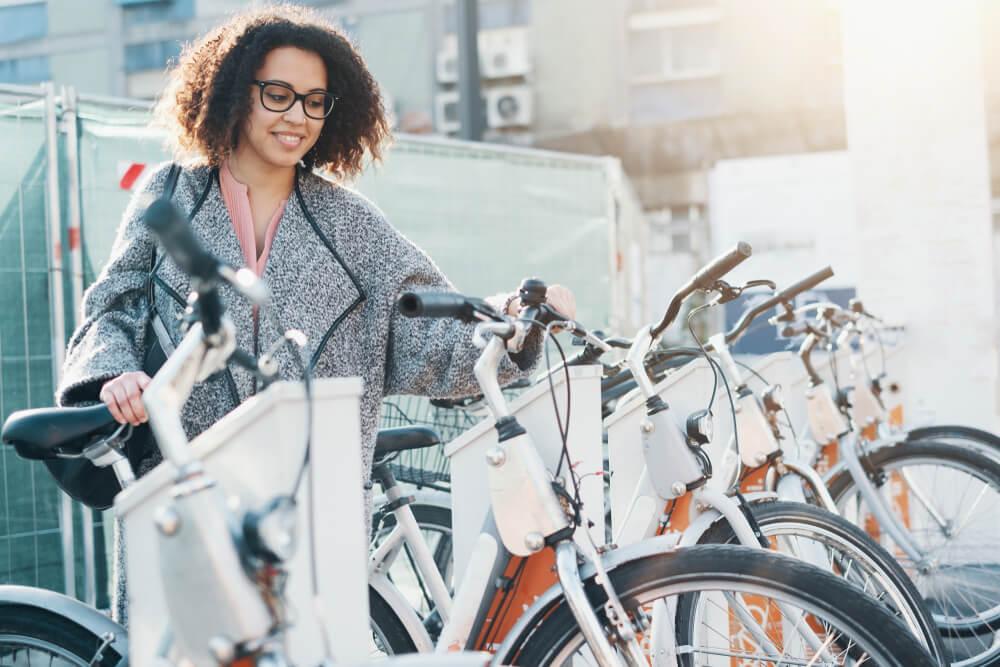 Woman Renting a Bike